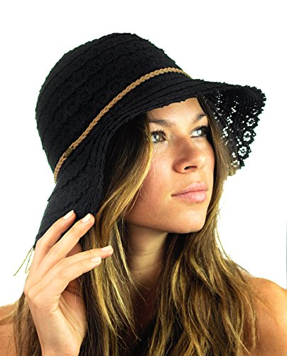 NYFASHION101 Open Knit Brown Braided Trim Vented Cotton Beach Sun Hat - Black