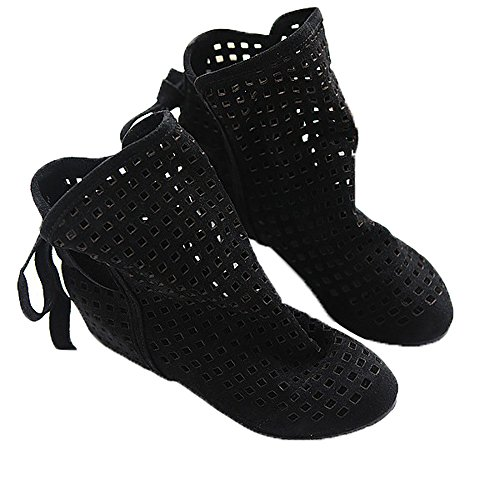 Flock Ankle Hollow Black Slip Boots Fashion on Wedge Low Out Women Hidden Casual Flat Autumn Roma Summer leanna wFXqAxZ