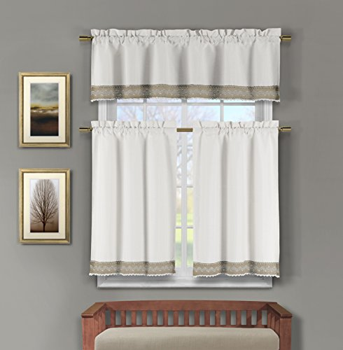 Home Maison  - Zoey Floral Lace Border Linen Textured Kitchen Tier & Valance Set | Small Window Curtain for Cafe, Bath, Laundry, Bedroom - (White & Wheat) ()