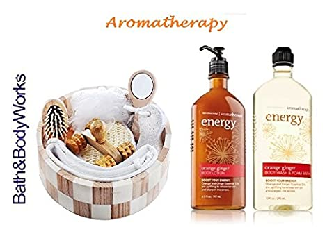 Bath & Body Works Orange Ginger Deluxe Spa Set Aromatherapy Energy Body Wash & Foam Bath and Body Lotion Plus Spa Crate