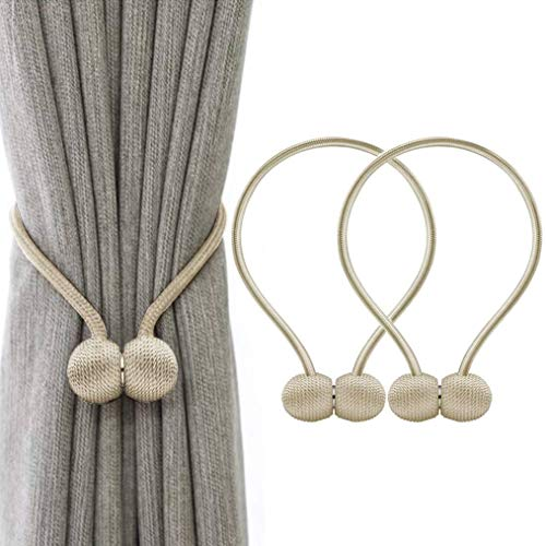 WEEFORT Magnetic Curtain Tie Backs Round Buckle Clip Holdbacks Binding Weaving Tie Band for Home Office Decorative