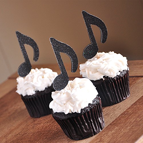 Music Party Decor. Rock Star Party. Music Note Cupcake Toppers 12CT.
