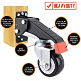 SPACEKEEPER Workbench Casters kit 660 Lbs - 4 Heavy Duty Retractable Caster Wheels Designed for Workbenches Machinery & Tables, Install Template Included