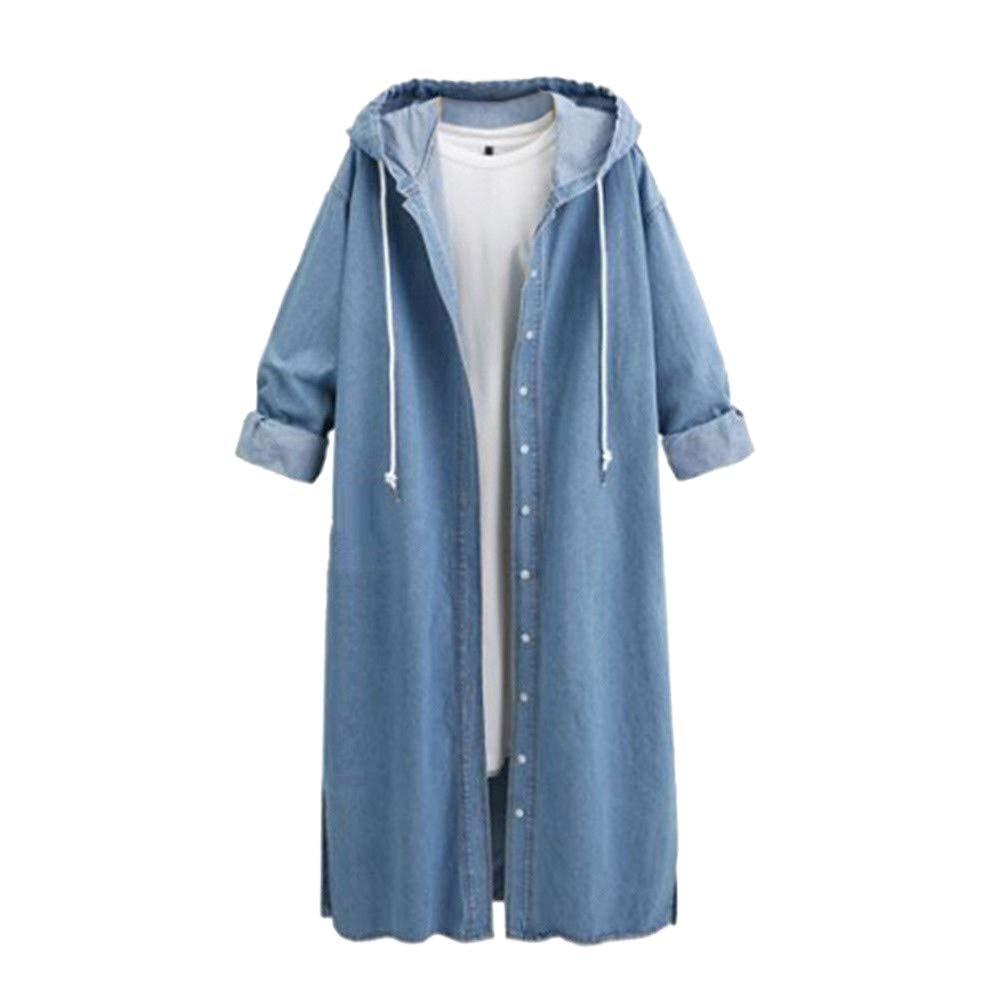 LISTHA Hooded Denim Jacket Women Long Jean Coat Hoodie Outwear Casual Overcoat