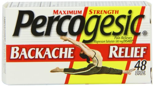Maximum Strength Percogesic Enhanced Pain Relief -Magnesium Salicylate tetrahydrate 580 mg (NSAID)- Fast Acting Coated Caplets, 48 Count. Aspirin Free Pain Reliever. (Pack of 3)