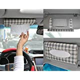 KDL Auto Accessory Paper Napkin Holder PU Leather Clip Car Sun Visor Tissue Box
