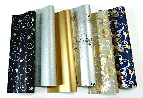 10 Rollen Weihnachtspapier Geschenkpapier je 2 m x 70 cm Gold,Silber,Black wie abgebildet