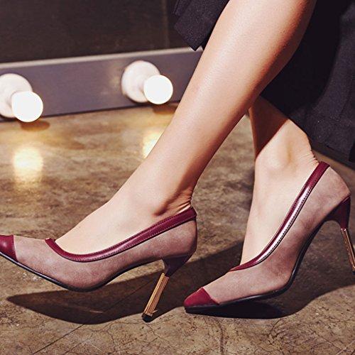 Naiset Tyylikäs Kantapää Viininpunainen Pumput Ohut on Zhu Metallin Teräväkärkiset Slip Kengät Korkea York xtZ5Wn4W