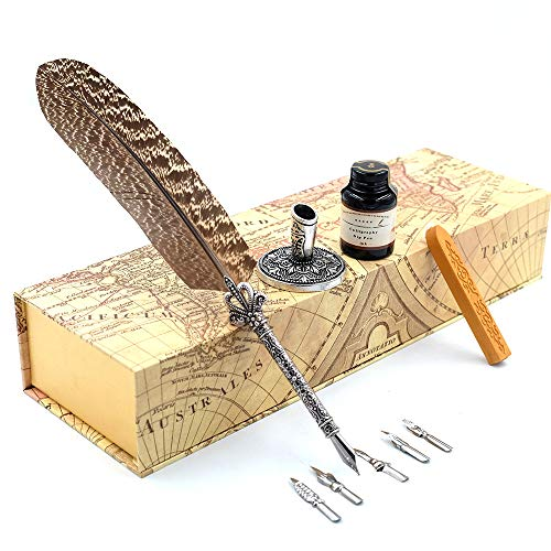 GC Quill Pen Beautiful Nuture Feather Metal Carving Pen Holder 6 Nibs Gift Set GCLL021 by GC Writing Quill (Image #8)