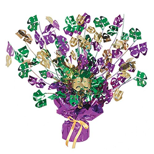 Club Pack of 12 Metallic Bright and Bold Gleam 'N Burst Mardi Gras Centerpieces 15