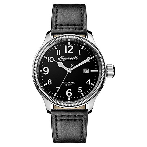 Ingersoll Men's Automatic Stainless Steel and Leather Casual Watch, Color:Black (Model: I02701)