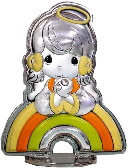 Cvc srl – Figura bebé ángel de Plata bilaminada Colorida con Arco y pie de zamak 66 x 52 mm – Regalo para Bautizo, confirmación, comunión