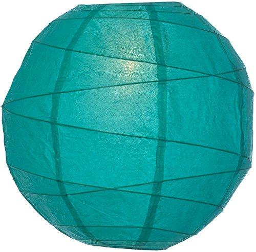Luna Bazaar Teal 12 Inch Round Premium Paper Lantern (free-style ribbing)