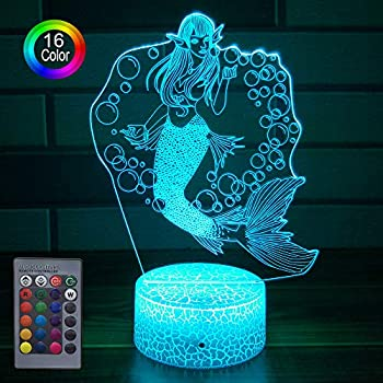 HLLKYYLF Girls Mermaid Gifts Mermaid Party Supplies 16 Color Changing Kids Lamp with Touch and Remote Control Mermaid Toys Lamp as Gift Idea for Home Decor or Birthday Gifts for Baby (Mermaid)