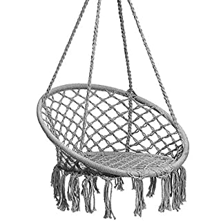 Caromy Hammock Chair Macrame Swing, Hanging Lounge Mesh Chair Durable Cotton Rope Swing for Bedroom, Patio, Garden, Deck, Yard, Max Capacity 265 Lbs (Grey)