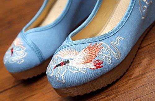 Icegrey Zapatos Hechos A Mano De La Grúa Bordada De La Cuña De Las Mujeres De Las Bailarinas Azul claro