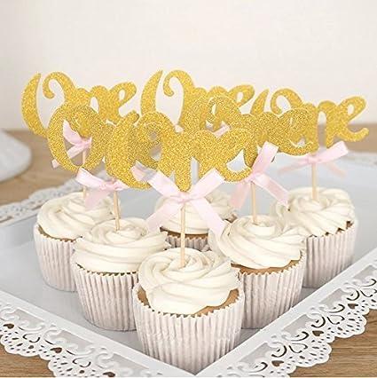 kakasogo 30 pcs 2017 newest wedding bridal shower gold one glitter cupcake cake fruit topper pink