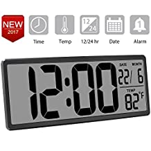 13.8 Inch Jumbo Digital Alarm Clock, Large Wall Clock Display Oversize Digits, Date/Indoor Temperature, Extra Large LCD Screen, Bedside Desk Clock with Snooze, Button Cell Battery Included,Rifle