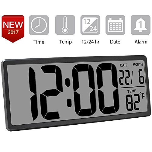TXL 13.8inch Jumbo Electronic Alarm Clock Extra Large Digital Wall Clock Display Date/Temperature, Easy To Read Desk & Shelf Clock with Oversize Digits for Seniors Home Kitchen Office Warehouse, Rifle