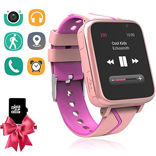 hildren Smart Watch with MP3 Music Player [1GB Micro SD Included] FM Pedometer Camera FM SOS Alarm Clock Flashlight for Boys Girls Back to School Students Gifts (Pink) ()