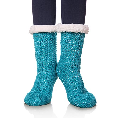 SDBING Women's Sequin Super Soft Warm Cozy Fuzzy Fleece-lined Winter Knee Highs Christmas gift Slipper socks (Turquoise) ()