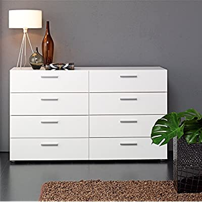 8 Drawer Dresser Chest, Space Saving Design, Made from Engineered Wood, Contemporary Style, Practical, Extra Space, Perfect for Nursery, Bedroom Furniture, White Color + Expert Guide - This double dresser can organize your clothing without overbearing your room. With 6 wide drawers, sweaters and lines find a happy home here. Unique dresser depth makes the ideal for smaller spaces or high traffic areas in bedrooms. Streamlined metal hardware and round feet give the line its simple chic feel. Standing strong with metal drawer liners and an easy to clean foil surface the dresser will be a productive and durable piece in your collection. Contemporary style. Suitable for small rooms. Metal handles. Drawers with metal runners. Made from engineered wood using PEFC certified sustainable wood. Scandinavian look and design. - dressers-bedroom-furniture, bedroom-furniture, bedroom - 51pQ9mHlwaL. SS400  -