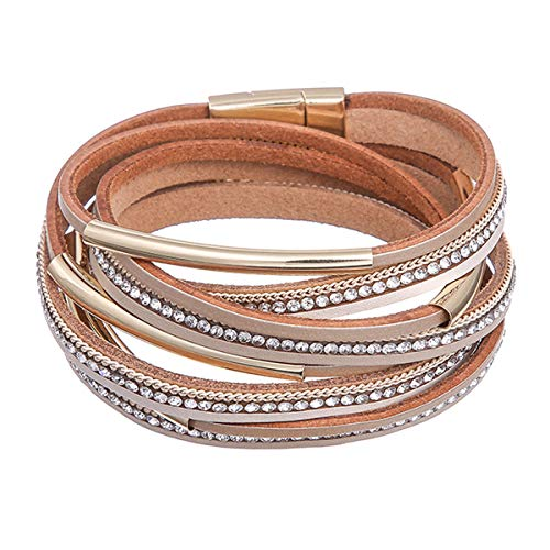 (Alaxy Multi-Layer Leather Tassel Bracelet Handmade Wristband Gorgeous Wrap Bracelet with Magnetic Buckle Bohemian Bangle Jewelry for Women, Teen Girl, Sister, Daughter Gift (Tan))