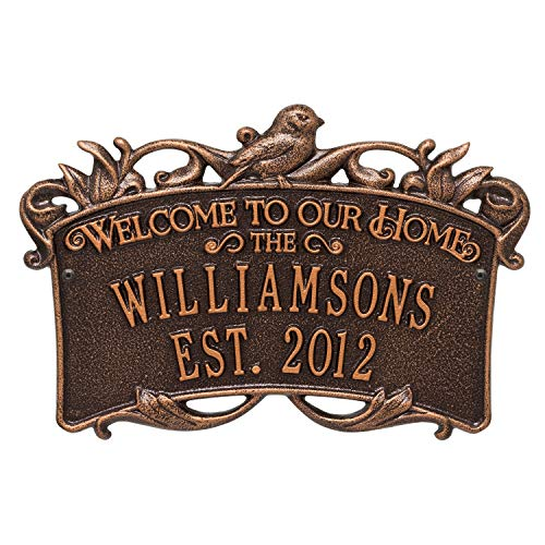 Copper Songbird House - Songbird Welcome Anniversary Personalized Plaque Great Wedding, Anniversary House Warming Gift (Antique Copper)