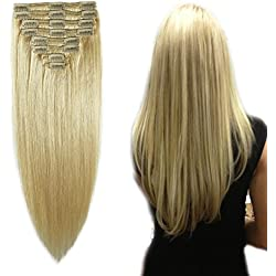 "Bleach Blonde Clip in 100% Remy Human Hair Extensions Double Weft #613 Grade 7A Quality Full Head Thick Long Soft Silky Straight 8pcs 18clips for Women Beauty 20"" / 20 inch 150g"