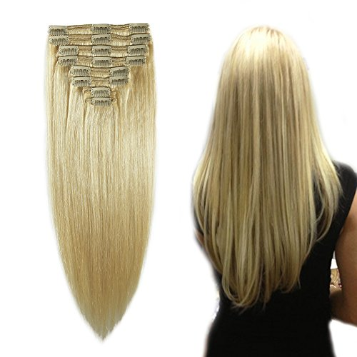 Double Weft Clip in Hair Extensions 100% Remy Human Hair 10''-22'' Grade 7A Quality Full Head Thick Thickened Long Soft Silky Straight 8pcs 18clips(18