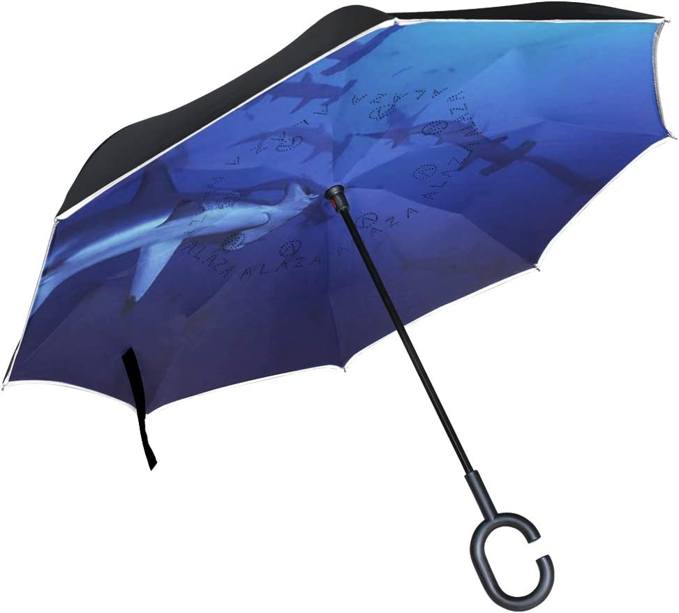 SLHFPX Reverse Umbrella Various Cartoon Characters Background Windproof Inverted Umbrella Automatic Reversible for Golf Car Auto Travel Rain Outdoor Black