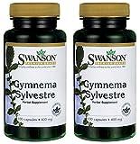 Swanson Premium Gymnema Sylvestre 400mg -- 2 Bottles each of 100 Capsules