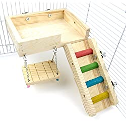 Alfie Pet - Ray Wooden Swing, Ladder and Resting Platform Set for Mouse, Chinchilla, Rat, Gerbil and Dwarf Hamster - Size: Medium