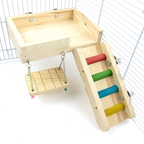 Alfie Pet by Petoga Couture - Ray Wooden Swing, Ladder and Resting Platform set for Mouse, Chinchilla, Rat, Gerbil and Dwarf Hamster - Size: Medium