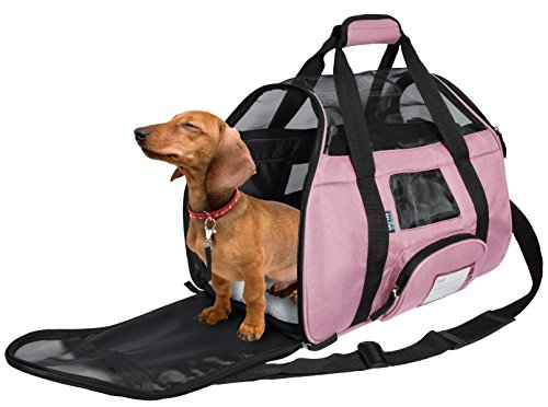 KritterWorld Soft Sided Pet Travel Carrier for Small Dogs and Cats Puppy Small Animals Airline Approved | Removable Sherpa Lining Bed, Built-in Collar Buckle, Lost & Found Tag Included by Pink
