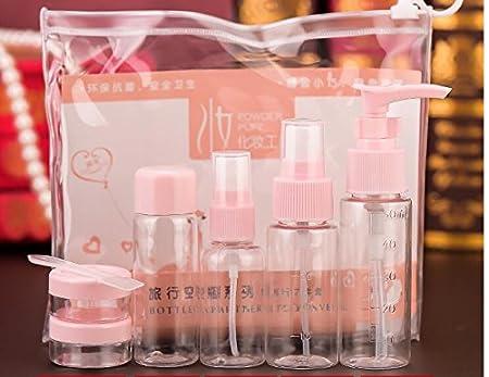 Tukistore 7 piezas / set Conjunto de botella de viaje para maquillaje cosméticos artículos de tocador Contenedor de líquido botella de spray portátil a ...
