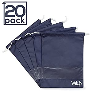 Shoe Bag Multipack - Pack of 20 - PVC Viewing Window - Dual Drawstrings - Suitable for Large Shoes & Boots Up to US Size 14 - Ideal for Storage & Travel - Durable Non-Woven Material