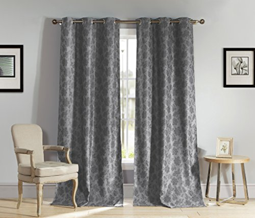 Heavy Insulated Floral Print Energy Saving Blackout Window Grommet Top Curtains 54 inch Wide by 84 Long (Assorted Colors) Set of 2 Panel Room Darkening Drapes - Grey