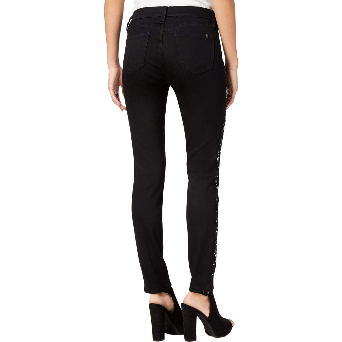 Buffalo David Bitton Faith Embellished-Side Skinny Jeans Size 30 Black Rinse