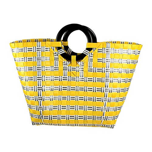 Plastic woven bag, handmade woven bag, woven beach tote, woven tote bag, beach bag, made from Recycled Material, Handwoven plastic shoulder bag - Style - Newport Stores Beach