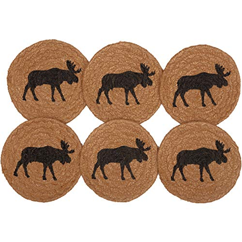 VHC Brands Rustic Tabletop Kitchen Cumberland Moose Jute Stenciled Nature Print Round Coaster Set of 6 Tan