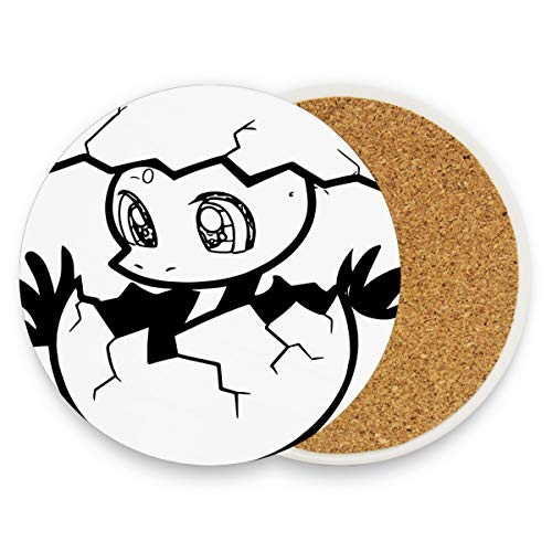 SLHFPX A Baby Dinosaur From Egg Coasters, Protection for Granite, Glass, Soapstone, Sandstone, Marble, Stone Table - Perfect Cork Coasters,Round Cup Mat Pad for Home, Kitchen or Bar