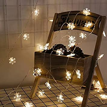 Bymlt Snowflake String Lights 20 Ft 40 Lights Battery Operated Waterproof  For Garden Patio Bedroom