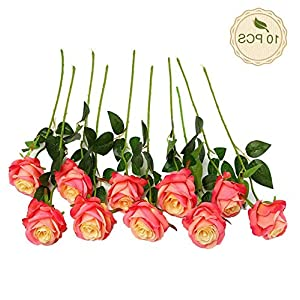 Gatton 10pcs Artificial Rose Silk Flower Blossom Bridal Bouquet Home ding Decor(Pink) | Model WDDNG - 322 | 86