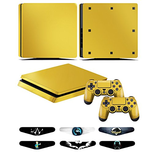 Skins for PS4 slim Controller - Decals for Playstation 4 slim Games - Stickers Cover for PS4 slim Console Sony Playstation Four Accessories with Dualshock 4 Two Controllers Skin - Golden