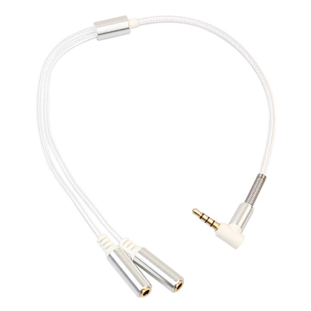 Braceus 3.5mm Audio Stereo Y Splitter Cable Male to 2 Female Jack Headphone Adapter (Silver)
