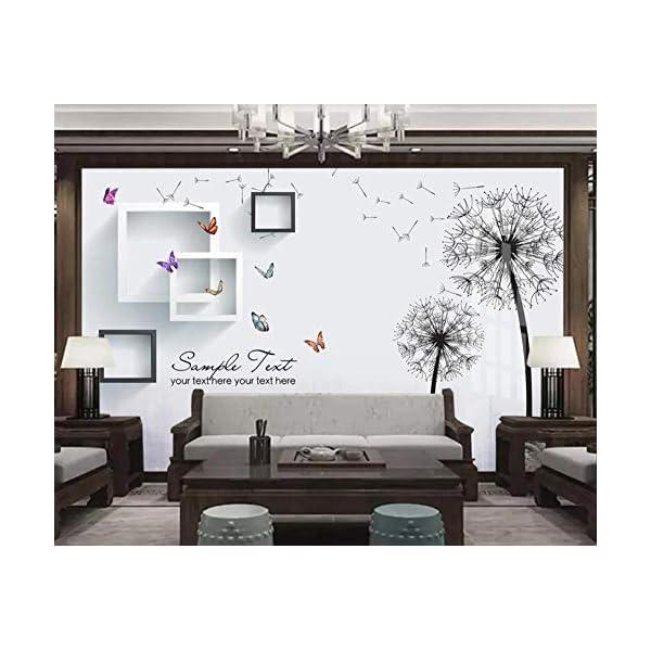 LIWALLPAPER-Carta-Da-Parati-3D-Fotomurali-Tarassaco-Cornice-Farfalla-Camera-da-Letto-Decorazione-da-Muro-XXL-Poster-Design-Carta-per-pareti-200cmx140cm