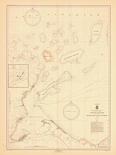 Map - Apostle Islands Including The South Coast Of Lake Superior, 1946 Nautical NOAA Chart - Wisconsin (WI) - Vintage Wall Art - 44in x 59in (Chart Lake Superior Depth)
