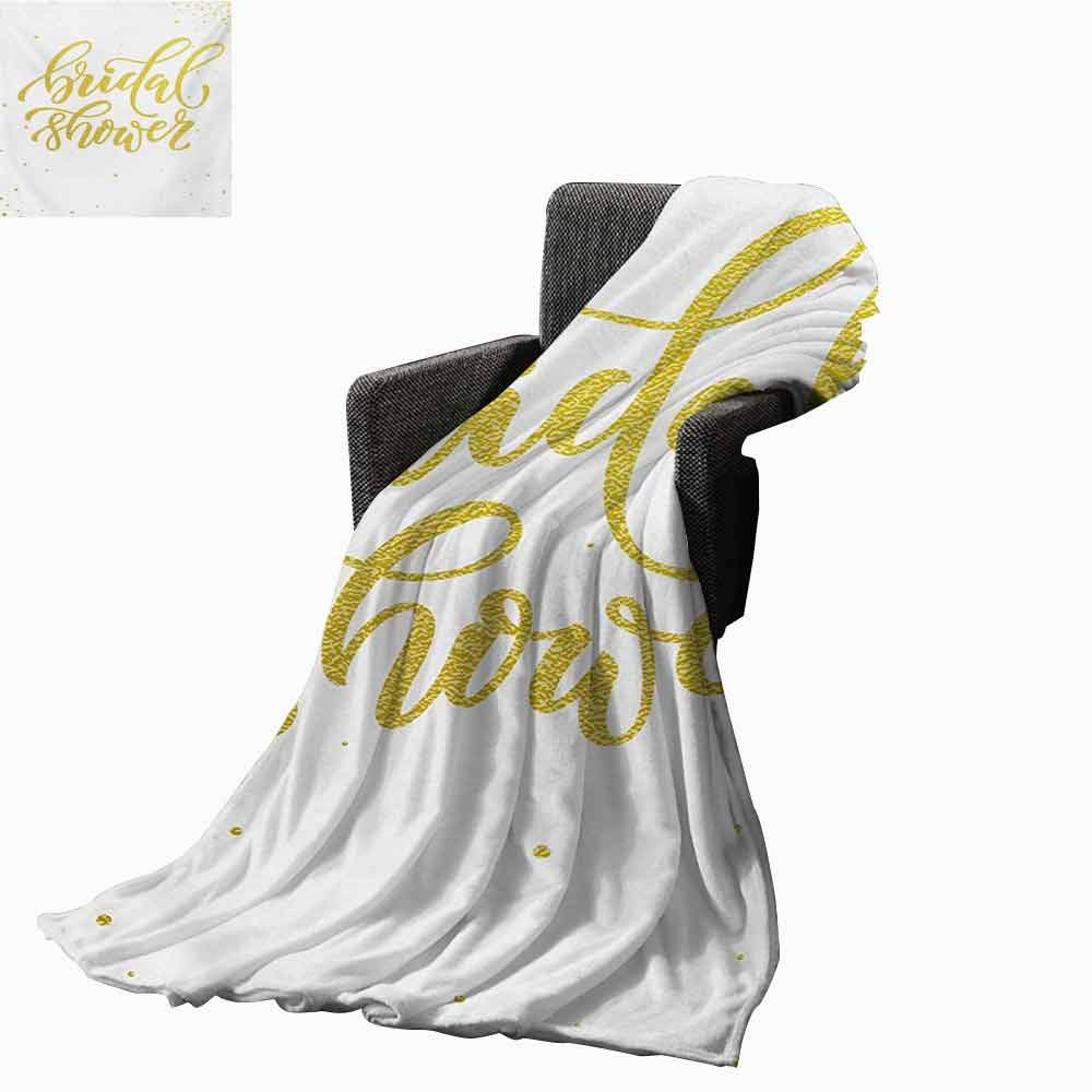 Bridal Shower Beach Blanket,Hand Written Sketch Design Ivy Lettering Bride Party with Dots Image Cozy and Durable Fabric-Machine Washable (62''x60'')-Yellow and White by vanfan-home