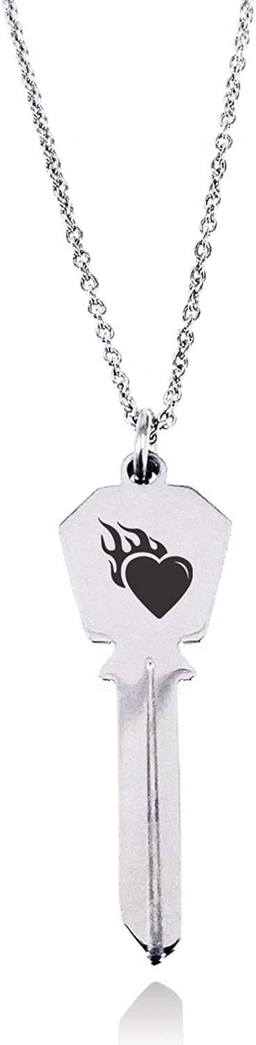 Tioneer Stainless Steel Flaming Heart Hexagon Head Key Charm Pendant Necklace